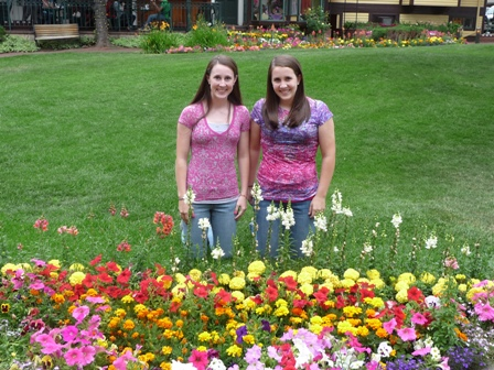 ally and lindsey with flowers
